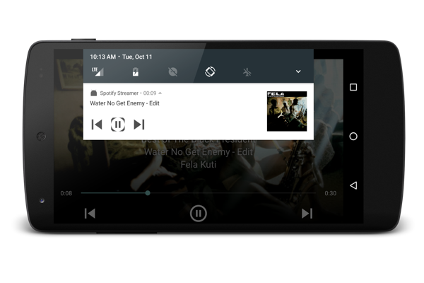 Showing audio playback in the notification bar.